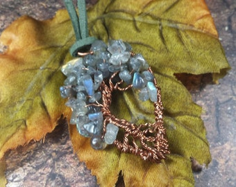 Labradorite Tree of Life Copper Wire Wrapped Pendant Necklace, Metaphysical Jewelry