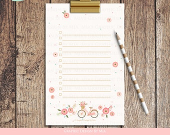 Flower Bicycle Check List - Instant Download - ST007