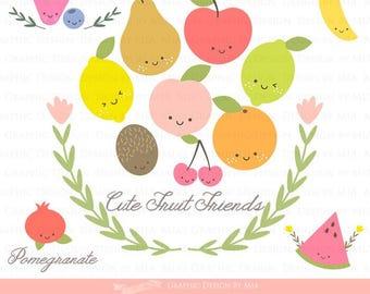Cute Fruit Friends /  Fruit Clip Art - Pear Lemon Blueberry Peach Pomegranate Orange Kiwi Banana Watermelon Instant Download - CA076