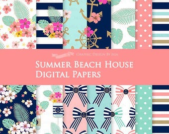 Summer Beach House / Nautical Digital Paper Pack - Instant Download - DP112