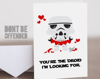 Star Wars Inspired Quirky Personalised Anniversary Birthday Valentine's Card - I'm The Droid You're Looking For