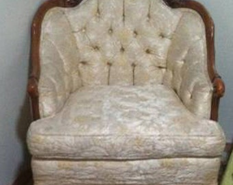 Antique Tufted Chair Frame with Carved Wood Details-Customize to exactly what you want