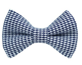 Maxwell Navy Houndstooth Dog Collar Bow Tie - Pet Bow Tie