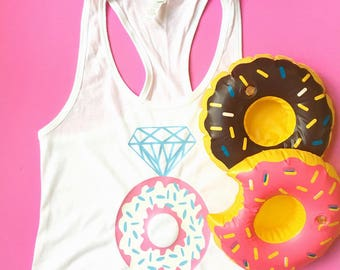 Donut Bride Tank Top, Bride Tank, Donut Bride Tee, Bride Donut Tank, Bride Donut Tee, Donut Bachelorette Tank, Donut Ring, Let's Go Nuts