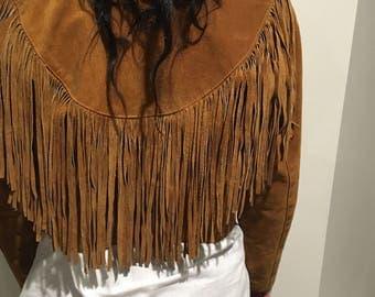 Vintage Suede Fringed Jacket Size 10