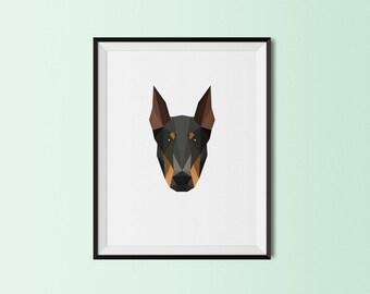 Doberman Portrait | Doberman Pinscher Dog Art Print | Doberman Pinscher Custom Print | Doberman Pinscher Geometric Art