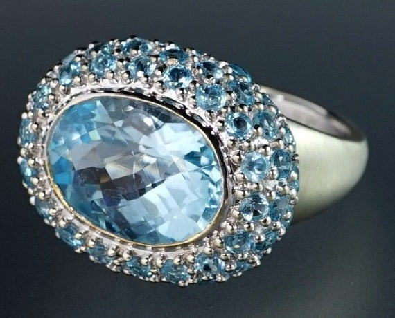 14K White Gold Large Nat Blue Oval Topaz Horizontal Florentine Cocktail Ring