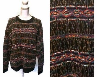 SALE Vintage Colorful Sweater Knit Sweater PULLOVER hipster clothing 1980s womens boho sweater geeky preppy Cosby Sweater womens MEDIUM