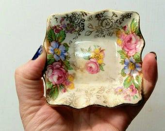Vintage James Kent Ltd, Balmoral 5070 Small Floral Trinket dish, bowl