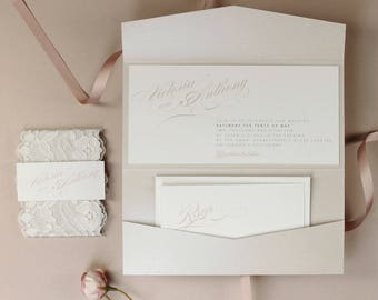 Blush and Vintage White Lace Elegant Romantic Monogram Classic Pocket Monogram Wedding Invitation Suite Suite with RSVP Card and Envelopes