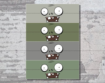 Zombie Face Water Bottle Labels