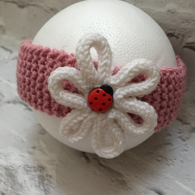 Knitting Ladybug Ladybird Headband : Hand knitted baby headband flower trimmed ladybug centre