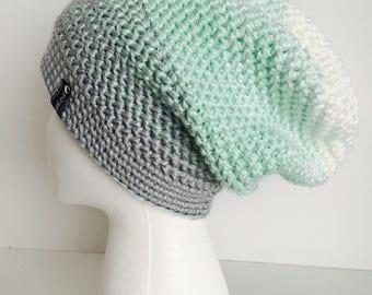 Crochet Slouchy Hat | White, Mint, Light Grey Ombre | iHat v5.0