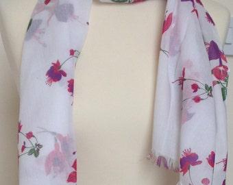 Fuchsia scarf - fuchsia wrap - fuchsia shawl - fuchsia floral print scarf - in 100% cotton