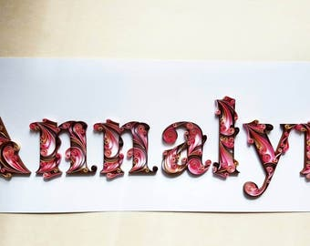 Custom Name Art, Personalized Name, Wall Art, Handmade Artwork, Home Decor, Wall Decor, Gift for Her, Quilling Name, Birthday Gift