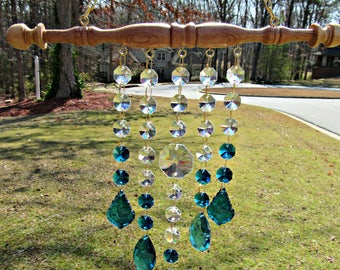 Dark Teal Crystal Sun Catcher, Crystal Suncatcher,  Birthday Gift, Patio Decor, Yard Art, Garden Decor, Wedding Gift,  Window Art, SC 5225D