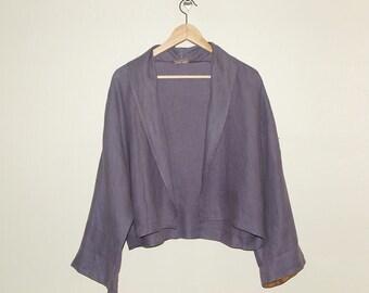 Vintage Lavender Linen Open Jacket, M/L