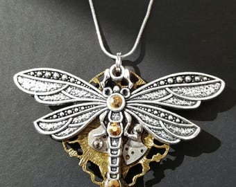 steampunk Dragonfly Pendant Handmade in the UK