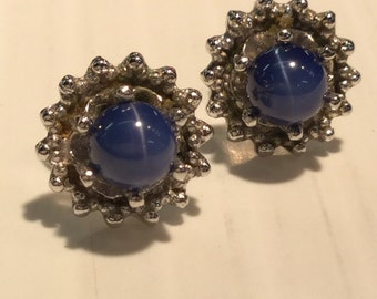 Vintage 14k White Gold Blue Star Sapphire Stud Pierced Earrings