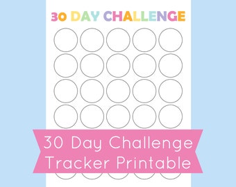 30 Day Challenge Tracker, Printable 30 Day Challenge Template, Printable 30 Day Calendar, Habit Tracker
