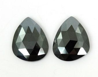 Natural Hematite Gemstone : 15.00ct 100% Natural Grey Hematite Gemstone Uneven Shape Rose Cut Slice 13*17mm Pair SG1474G15/19