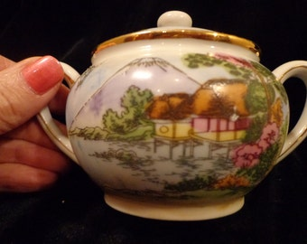 Asian China Creamer and Sugar Bowl with Asian Hand Painted Scenery Made In Japan