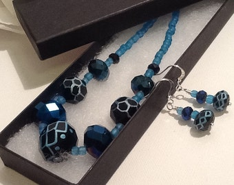 Turquoise & Black Necklace with Matching Earrings and Magnetic Clasp by Emerald Forest Designs