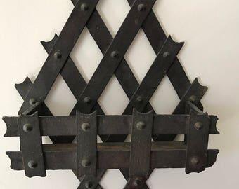 Antique Wooden Wall Basket for Letters, Primitve Wood Basket