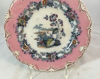 Antique Transferware Plate From England With Pink Border