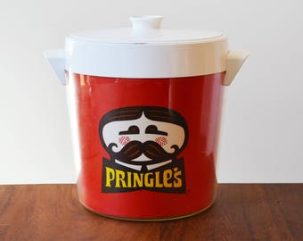 Vintage Pringles Chips Ice Bucket, West Bend Thermo-Serv Retro Advertising, Beer Holder, Drink Holder, Mid Century Kitsch