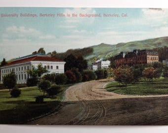 University of California, Berkeley, CA Vintage Postcard, 1910's, University Buildings, Berkeley Hills in the Background, UC