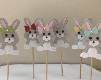 Bunny Cupcake Toppers, Easter Cupcake Toppers, cupcake topper, children's birthday cupcake topper, 12 cupcake toppers, Easter Bunny Cupcake