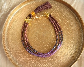 Rocaille Bohemian Bracelet Amethyst and coffee