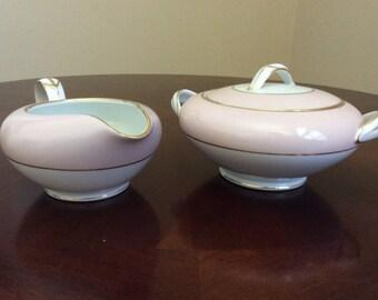 Elegant  Noritake  China Creamer and Sugar Bowls with Lid Royal Pink/Gold  verge/Rims/Trim #5527.