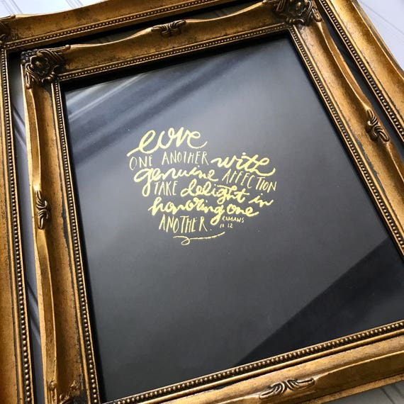 "Handlettered Gold Foil ""Love One Another"" 8x10"" Print * Catholic Christian Home Decor * Scripture * Wedding Anniversary Engagement Gift"