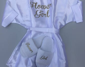Flower girl robe , flower girl slippers , will you be my flower girl , bridesmaid robe, bridesmaid slippers, will you be my bridesmaid