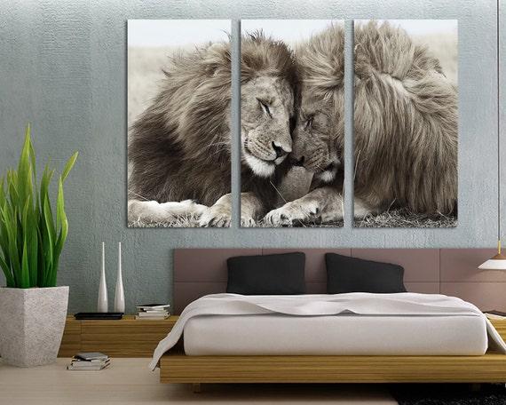 3 panel canvas split black and white lion lioness canvas. Black Bedroom Furniture Sets. Home Design Ideas