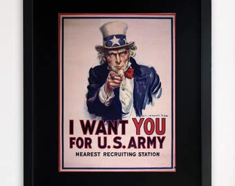 """LARGE 20""""x16"""" FRAMED Advertising Print, Black or White Frame/Mount, I Want You Army Poster"""