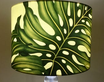 Monstera leaf lamp shade, leafy tropical print lamp shade