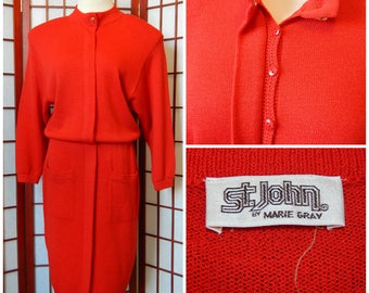 Vtg Red Sweater Dress Size 12 St. John by Marie Gray USA Made (R6-155)