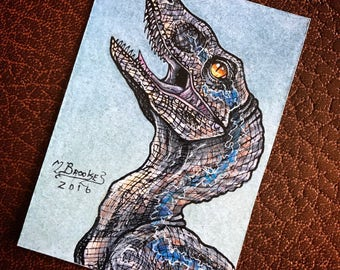 Blue the Velociraptor - Jurassic World Raptor Sketch Card