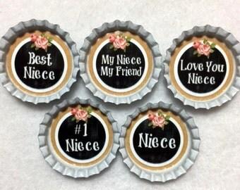 Set Of 5 Niece Inspired Bottle Cap Magnets
