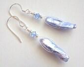 Hydrangea Earrings, Blue Stick Pearl Earrings, Stick Pearl Crystal Drop Earrings, Blue Pearl Silver Earrings