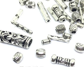 50 Spacer Beads, Antique Silver