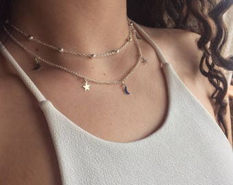 Silver/Gold Two-Layer Beaded Star and Moon Choker/Necklace