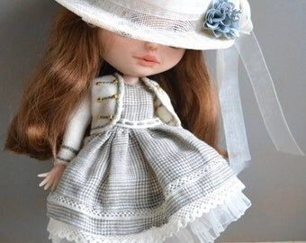Handmade cotton dress + cup + Jacket and boots for Blythe and Pullip outfit  (on request)