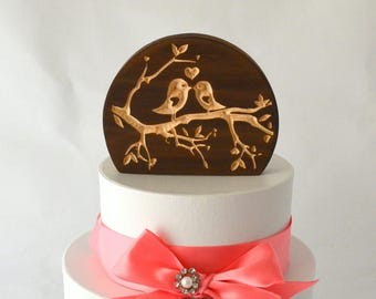Love Birds Natural Burned Wood Wedding Cake Topper