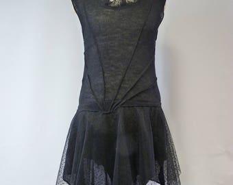 Fashion black linen dress, L size.