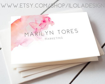 Pink Watercolour Custom Business Card