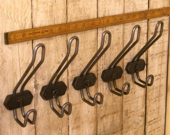 Industrial Factory Wire 2 Part Numbered 1 to 5 Antique Iron School Coat Hooks Pegs Retro Gift